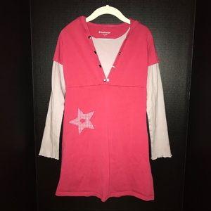 American Girl casual dress, dark pink with hood